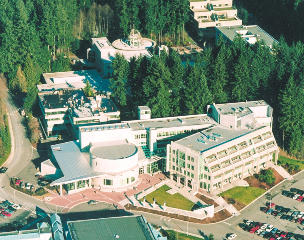 Aerial view of Capilano College Library & Birch Building.