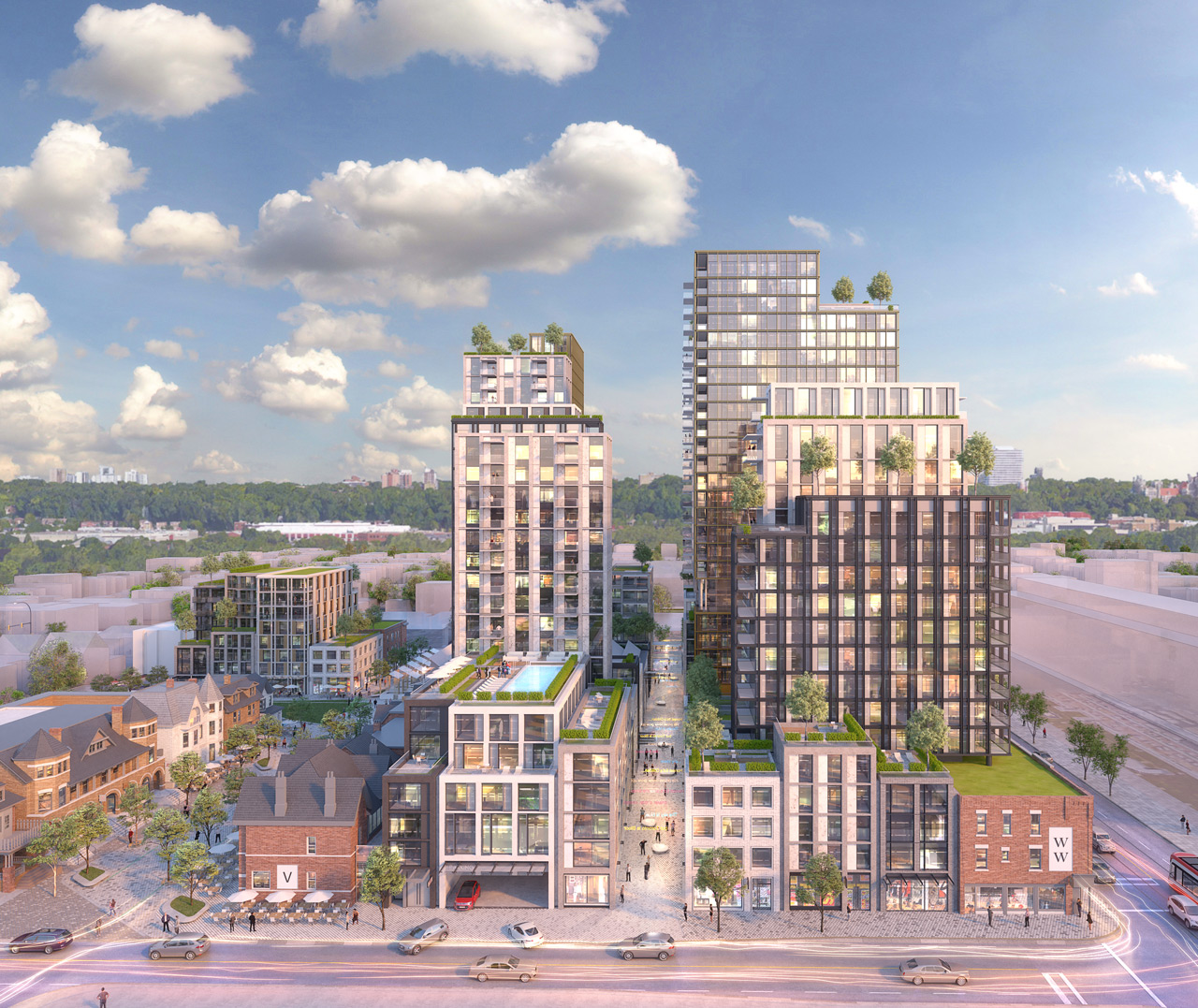 View of the Lennox Street Elevation from the Mirvish Village development.