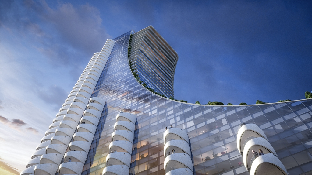 View of the Oakridge Balcony Pods from West 41st Avenue.