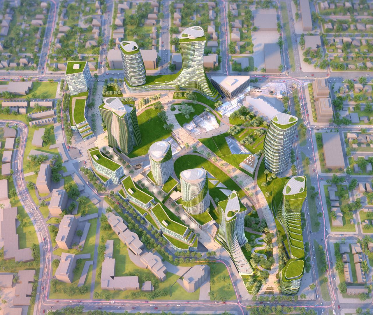 Aerial view of Oakridge redevelopment.