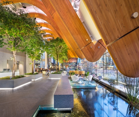 Interior of TELUS Garden lobby.