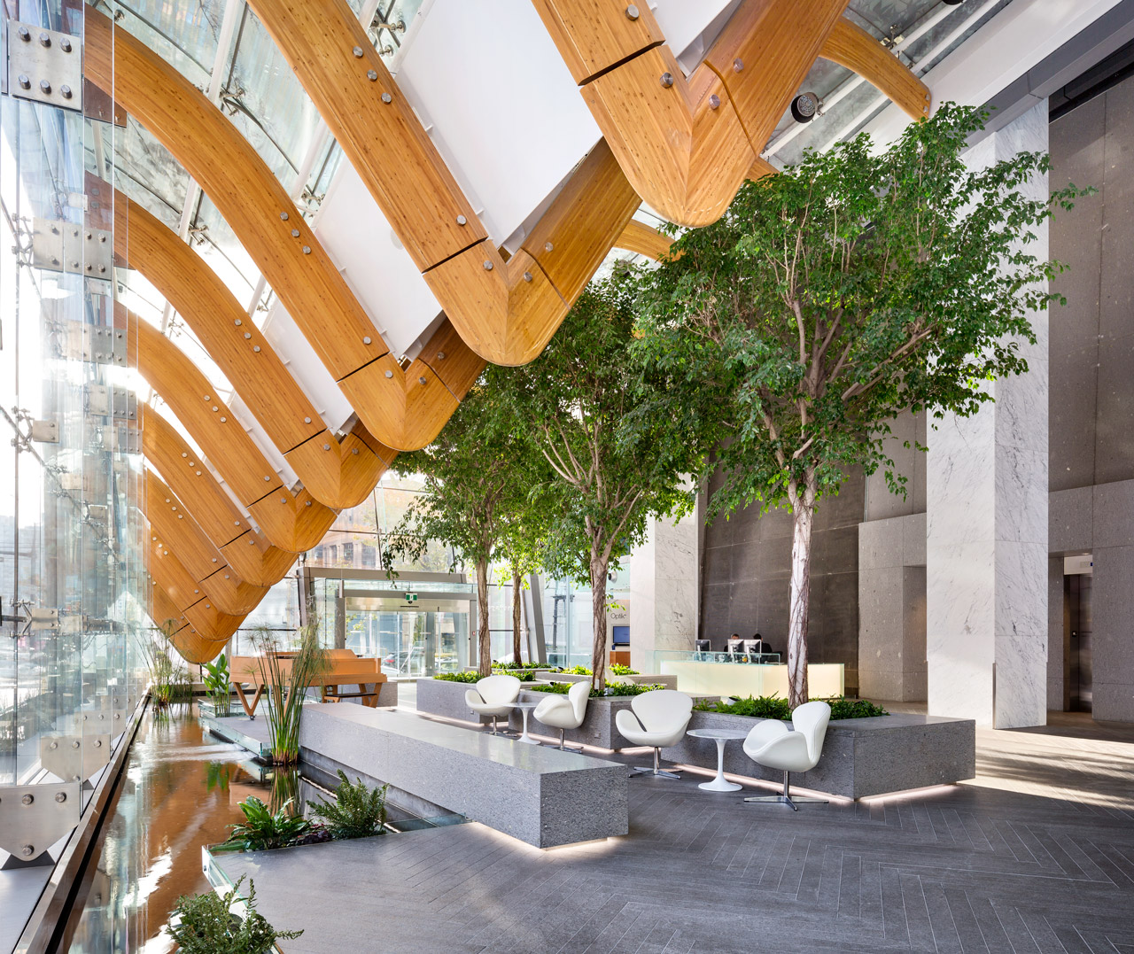 Interior view of the TELUS Garden lobby.