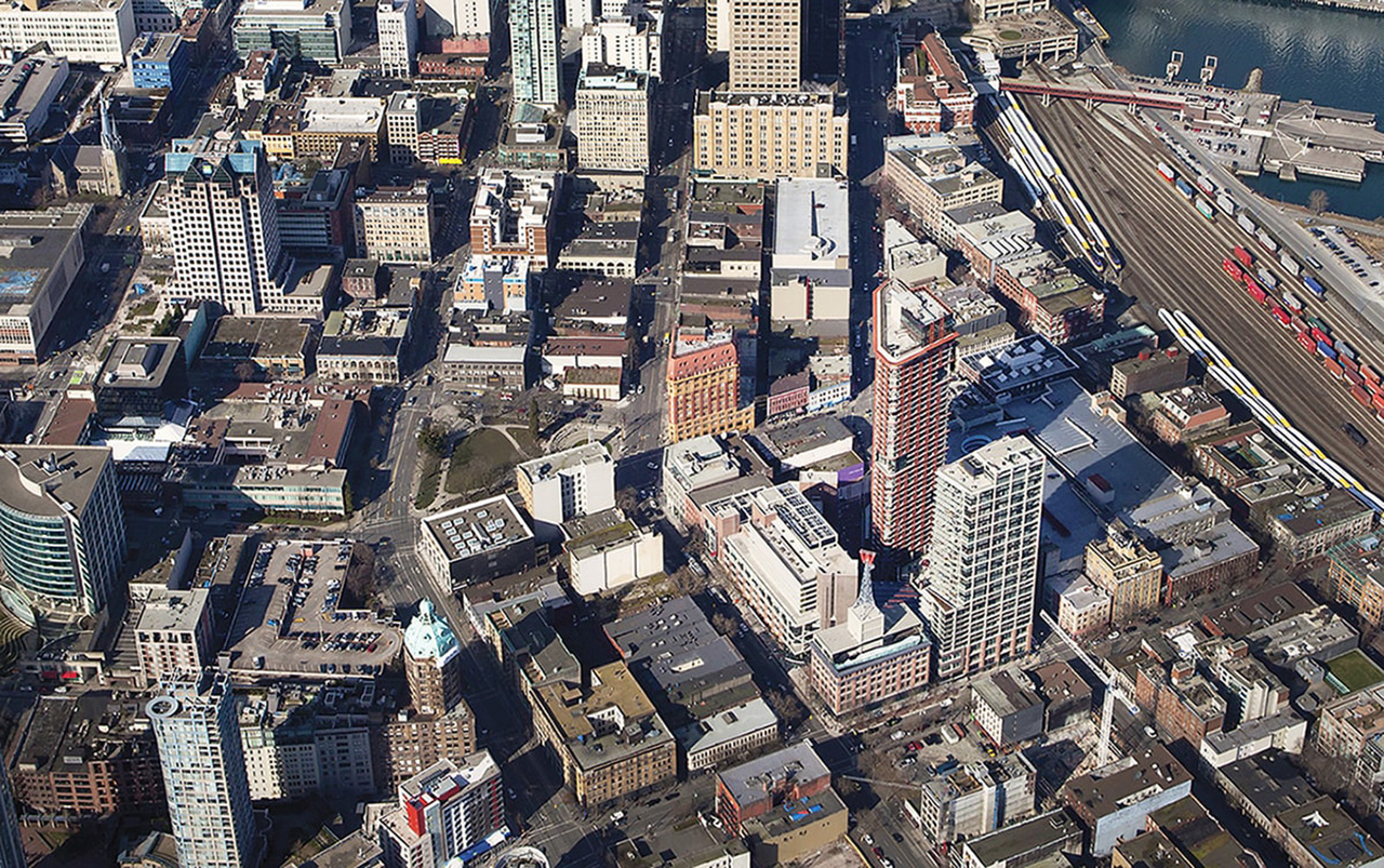 Aerial View of Woodward's Redevelopment looking West,