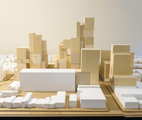 Wood block massing model of Mirvish Village.