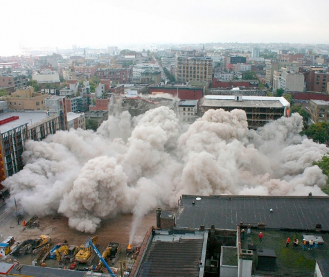 Still image showing demolition of original Woodward's building.