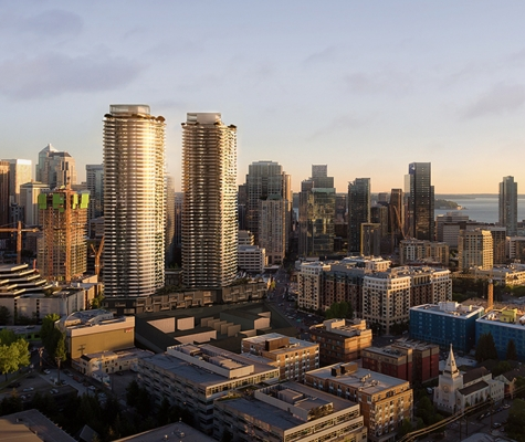 Aerial view of 1200 Stewart project in Seattle looking Southwest.