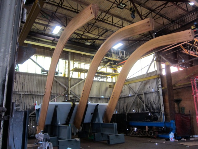 Still image showing the manufacturing of the glulam ribs from the TELUS Garden pavilion canopy.