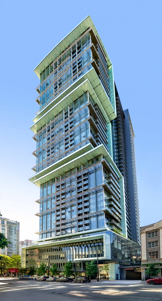 View of TELUS Residential from Richards Street looking West.