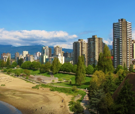 View of Vancouver's Westend from the Burrard Street Bridge looking North.