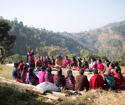 Entrepreneurial training with a women's self-help group in Nepal.