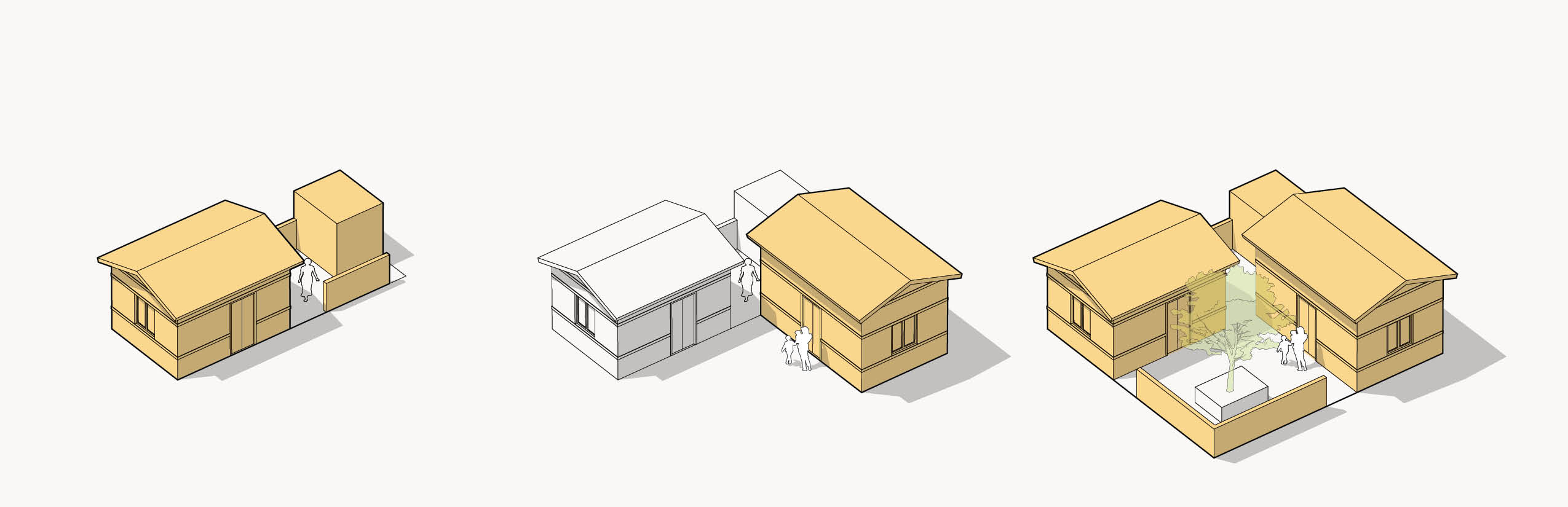Build Up Nepal's model houses; the Nepal Initiative will support the two-room house (first house, far left)