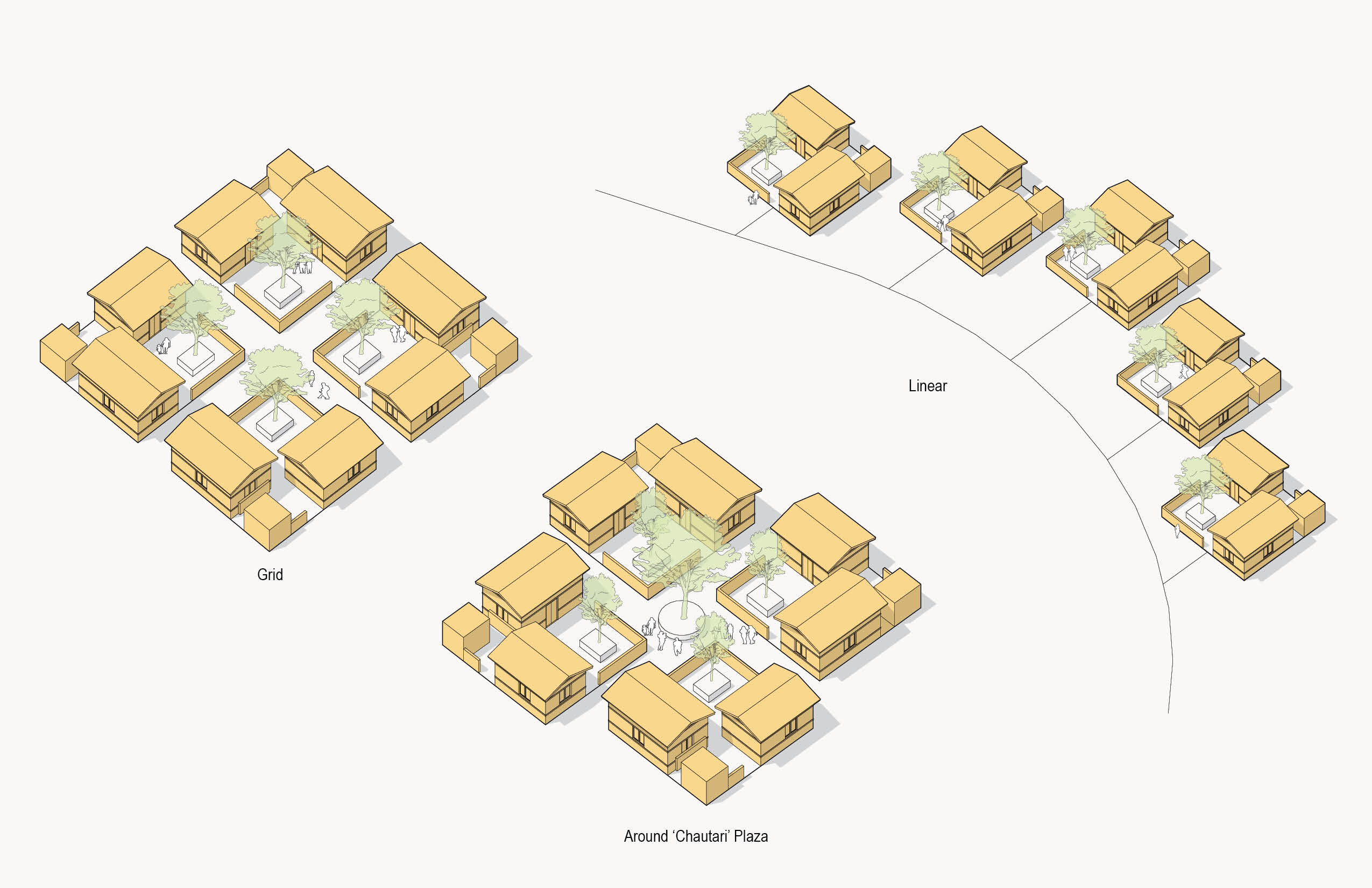 Conceptual image from Henriquez Partners showing housing distribution studies in Dalit community.